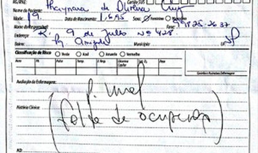 Ficha médica apresentado em unidade de saúde de Sumaré