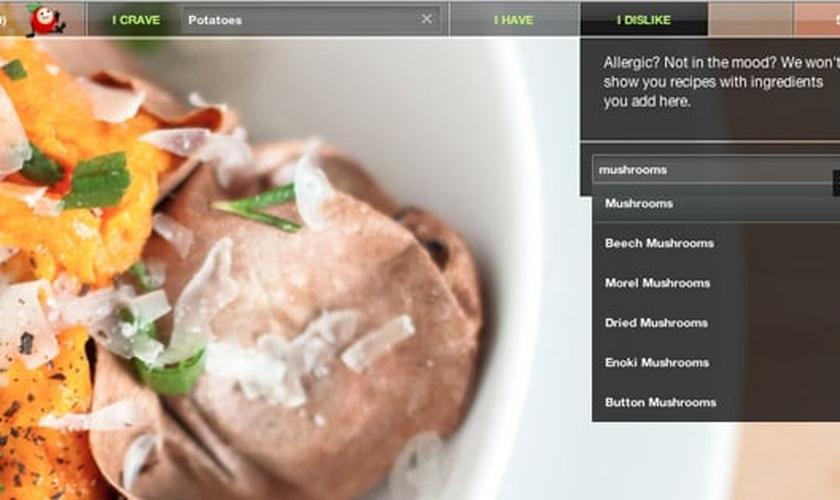 Site ajuda a fazer receitas com ingredientes que tem em casa