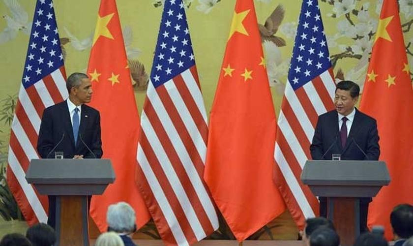 Presidentes dos EUA, Barack Obama, e da China, Xi Jinping
