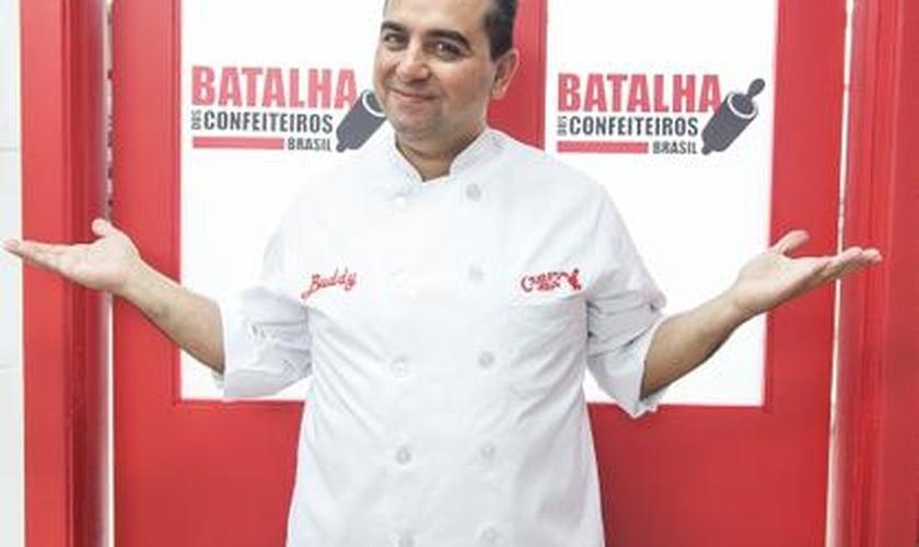 Buddy Valastro, o Cake Boss, nos estudios da Record, em São Paulo