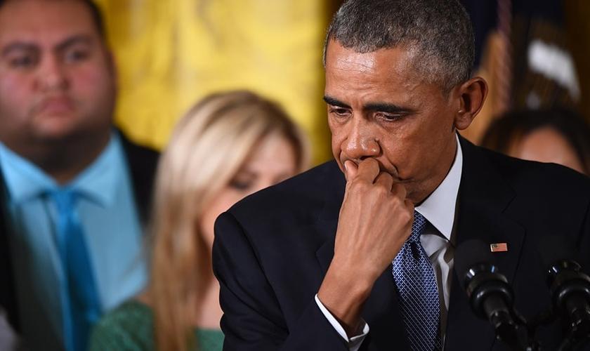 Emocionado, o presidente dos Estados Unidos, Barack Obama, citou uma fala de Jesus Cristo em discurso. (Foto: Reprodução/ The Times)