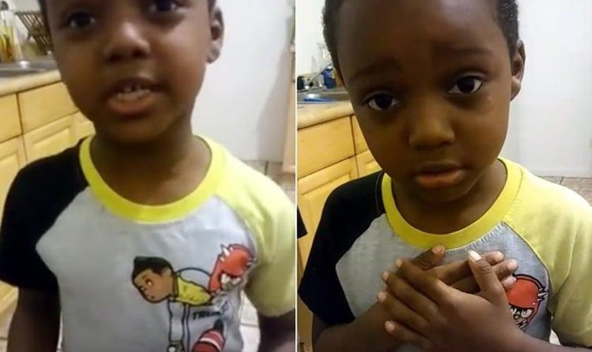 Em vídeo, o pequeno Jeffrey implorou para as pessoas não serem violentas. (Foto: Reprodução/Facebook)