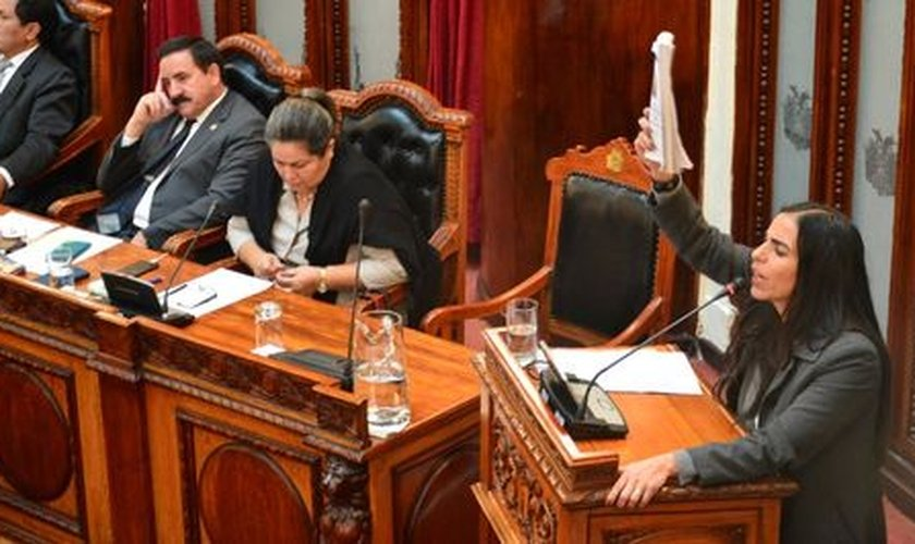 Presidente da Câmara dos Deputados, Gabriela Montaño, durante a sessão. (Foto: Câmara dos Deputados)