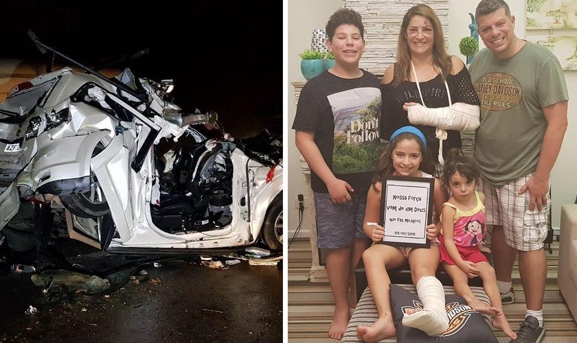 O carro foi destruído pelo impacto entre duas carretas, mas todos sobreviveram. (Foto: João Carlos Frigério/Plantão190/Facebook)