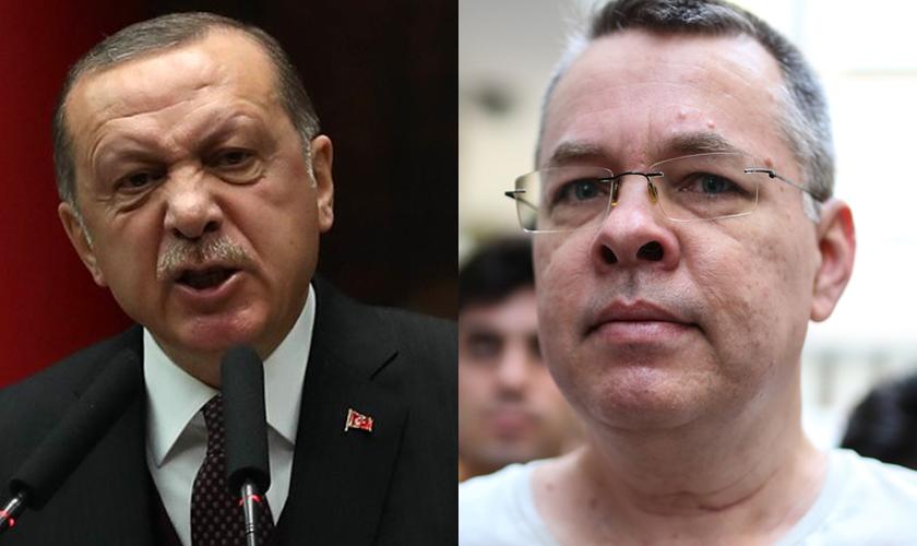 Erdoğan, presidente da Turquia (esquerda) e o pastor americano Andrew Brunson (direita). (Fotos: Reprodução).