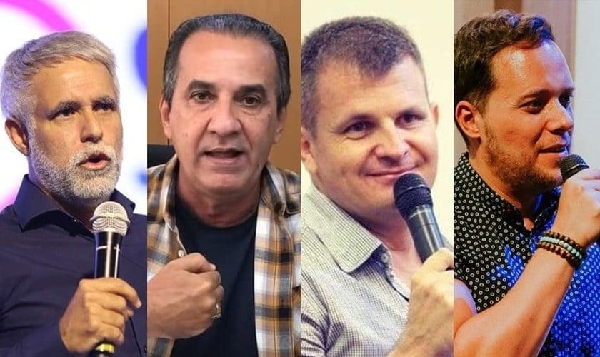 Pastores Cláudio Duarte, Silas Malafaia, Rina e André Valadão são alguns dos que declararam seu apoio publicamente a Bolsonaro. (Imagem: Edição - Guiame)