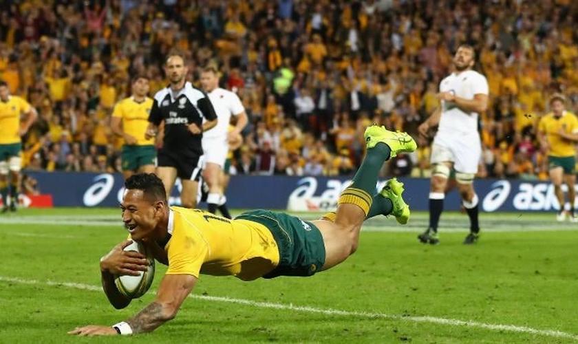 Israel Folau é considerado craque da liga de rúgbi australiana, defendendo o Waratahs. (Foto: Cameron Spencer/Getty Images)