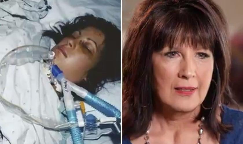 Valerie em coma na UTI na época do acidente e hoje. (Foto: Reprodução/CBN News)