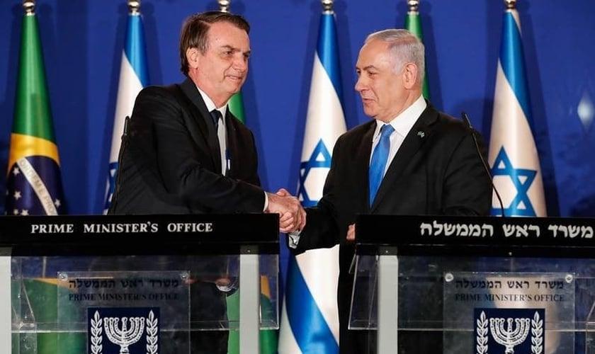 Bolsonaro e Netanyahu em encontro no Brasil. (Foto: Reprodução/Metrópoles)