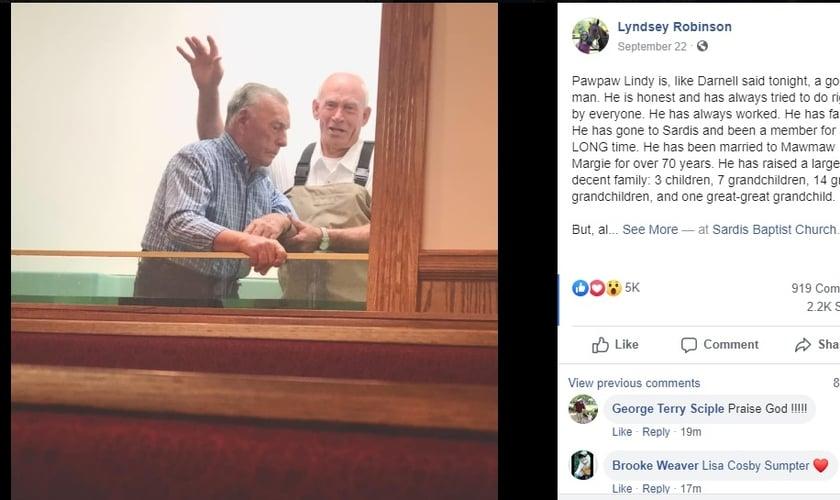 A publicação da bisneta do sr. Lindy Cummings está emocionando a internet. (Foto: Facebook / Lyndsey Robinson)