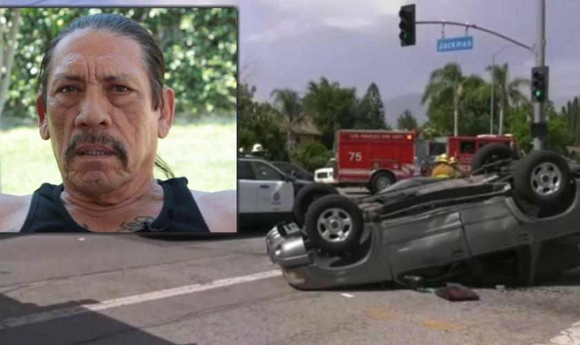 O ator Danny Trejo (no destaque) e a cena do acidente. (Foto: Reprodução/GUP)