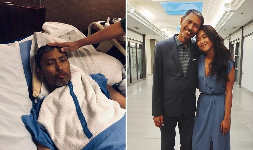Taddy recebe oração durante tratamento paliativo no hospital (à esquerda); e de alta, ao lado da filha Adrienne. (Foto: Reprodução/Instagram)