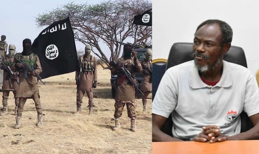 Pastor Moses Oyeleke (direita) foi libertado do cativeiro do Boko Haram (esquerda). (Foto: MC Ebisco)