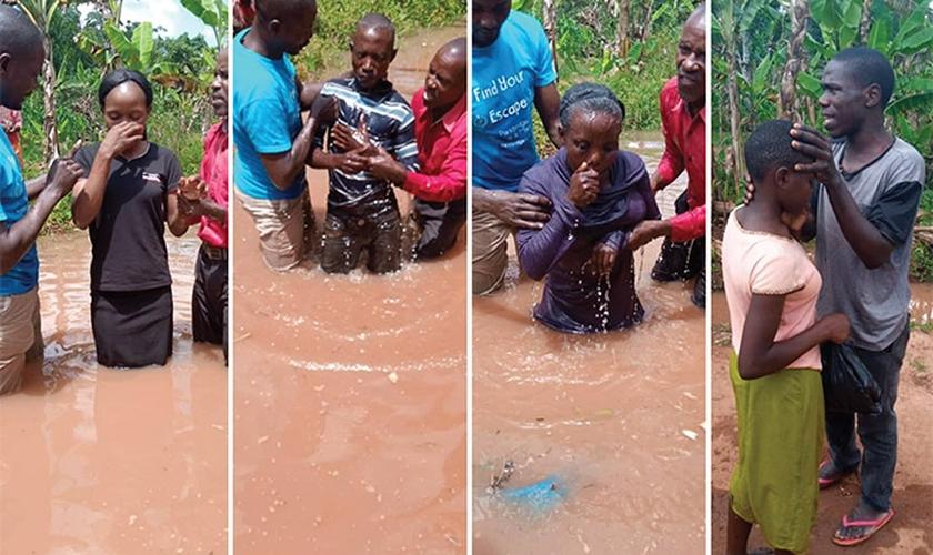 O missionário Ezra Baagala e sua equipe conseguiram batizar novos crentes na vila de Makokoto, Mubende. (Foto: Reprodução/UGCN)
