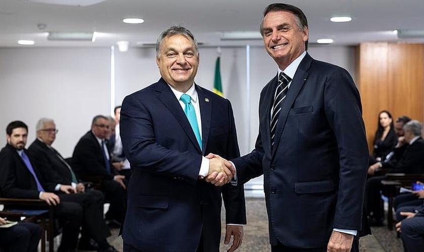 Primeiro-ministro da Hungria, Viktor Orbán, ao lado do presidente Jair Bolsonaro. (Foto: Assessoria de Imprensa do Primeiro-Ministro/Balázs Szecsődi)