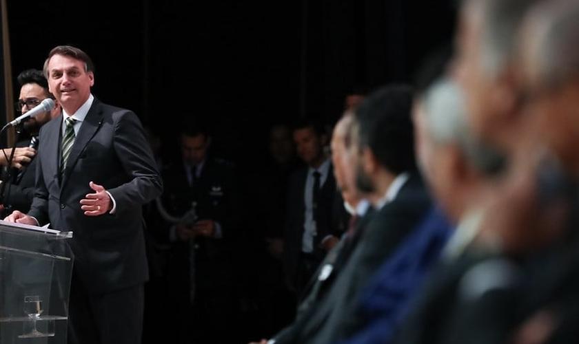 """Presidente Jair Bolsonaro na abertura do fórum """"O Controle no Combate à Corrupção"""". (Foto: Marcos Corrêa/PR)"""