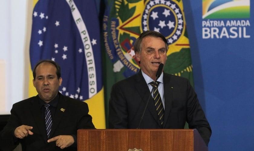 Presidente Jair Bolsonaro em sua participação no Culto de Ação de Graças no Palácio do Planalto, em 17 de dezembro de 2019. (Foto: Valter Campanato/Agência Brasil)