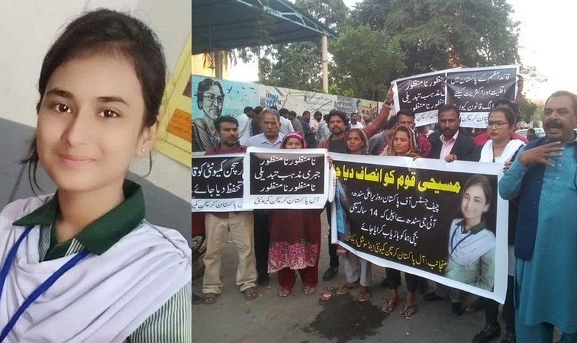 Huma Younas e protestos exigindo sua libertação. (Foto: Reprodução/Opindia)