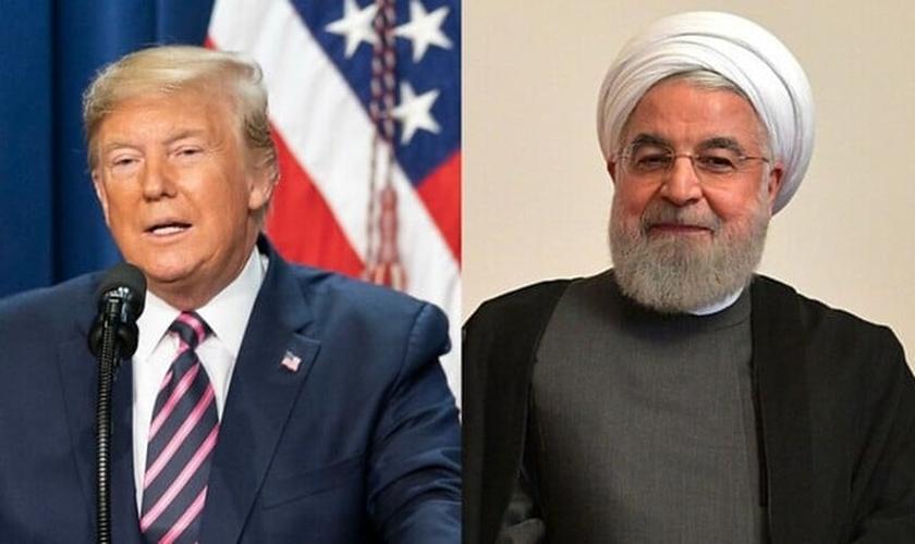 Presidente americano Donald Trump (esquerda) e presidente iraniano Hassan Rouhani (direita) estão agora em um conflito mais evidente do que nunca. (Imagem: Brasil de Fato)