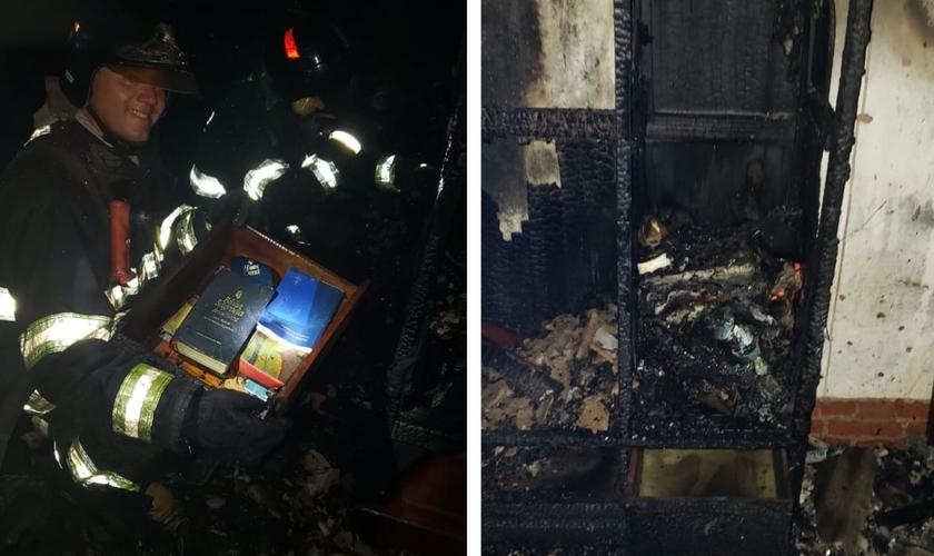 Gaveta com Bíblia fica intacta durante incêndio em Marília. (Foto: Arquivo Pessoal)