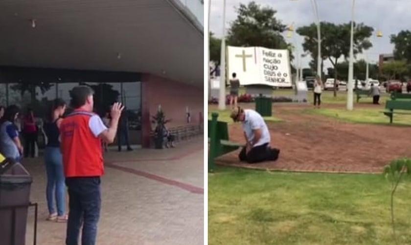 À direita, o prefeito Leonaldo Paranhos em oração com moradores de Cascavel. À esquerda, cidadãos orando na Praça da Bíblia. (Foto: Catve)