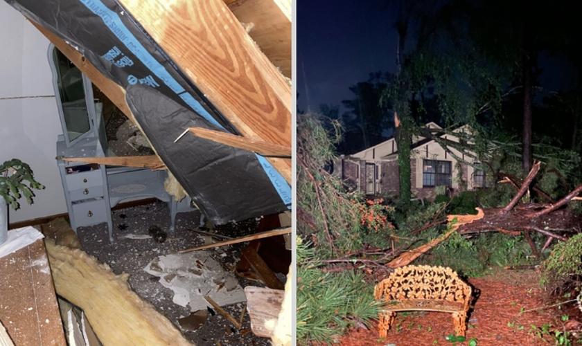 Casa foi danificada por uma forte tempestade nos EUA. (Foto: Victoria De Cardenas/WGXA)