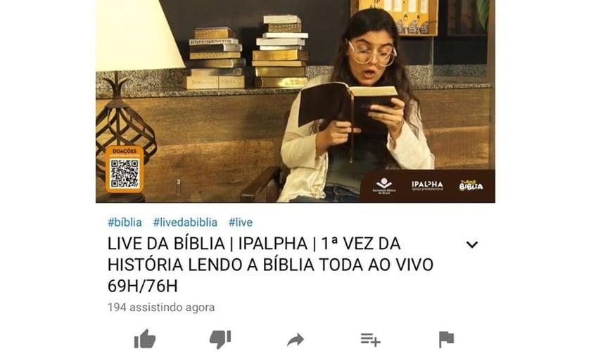 Igreja realizou 77 horas de transmissão da leitura da Bíblia. (Foto: Reprodução/Gospelmente)