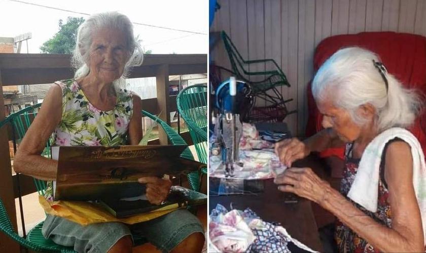 Maria Teixeira de Souza, de 103 anos, se recuperou do Covid-19. (Foto: Reprodução/A Crítica)