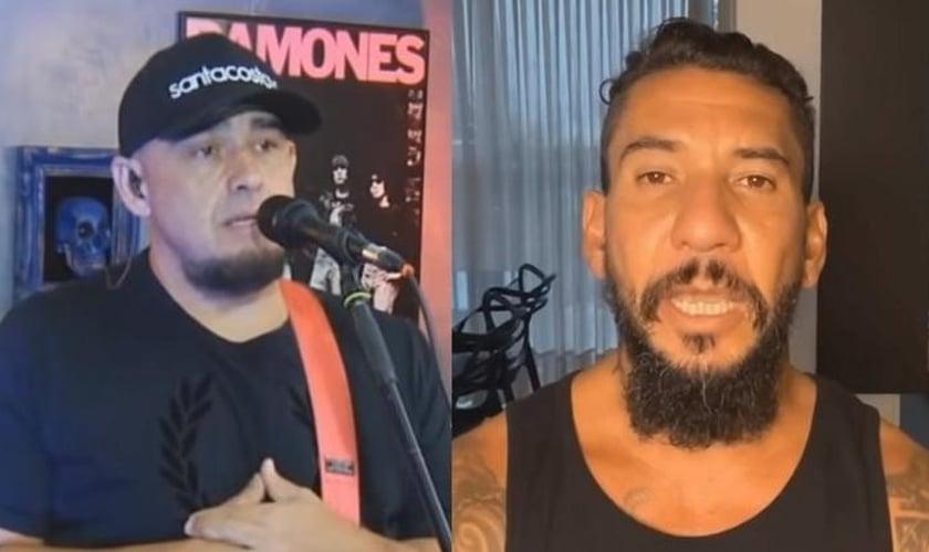 Digão (à esquerda) comentou a morte de Bessanger Abrantes e abriu espaço para a mensagem de Rodolfo Abrantes (à direita) na live dos Raimundos. (Imagem: UOL)
