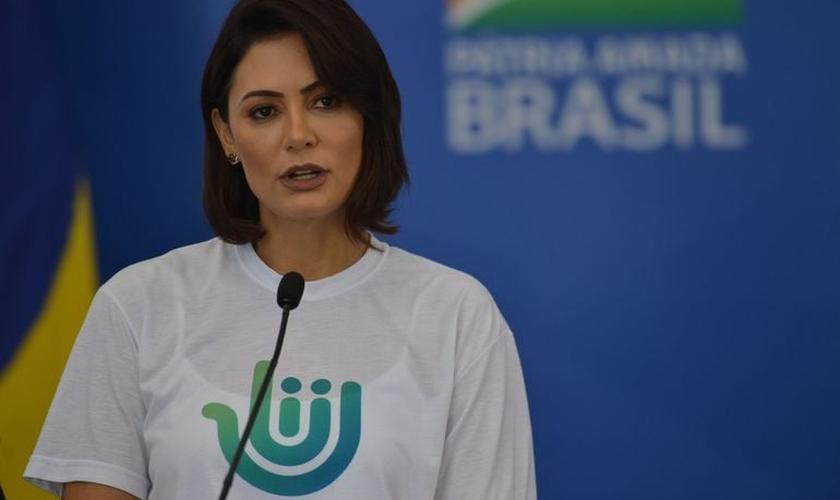 A primeira-dama Michelle Bolsonaro. (Foto: Reprodução / Agência Brasil)