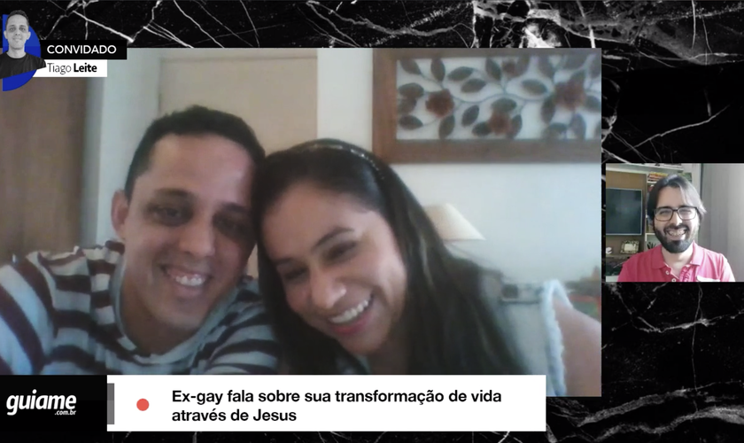 Tiago Leite (à esquerda) está casado há cerca de 5 anos com Aldeneide (à direita), com quem tem duas filhas. (Imagem: Guiame)