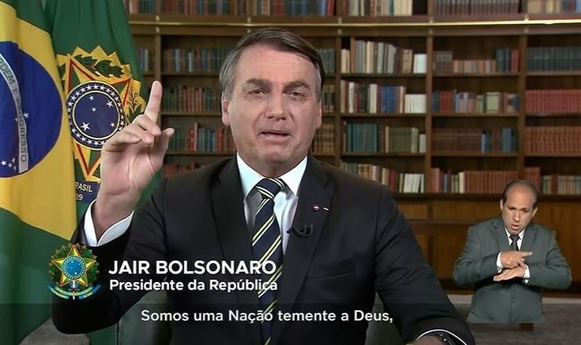 Jair Bolsonaro fez pronunciamento oficial pela TV, celebrando o Dia da Independência do Brasil. (Imagem: TV Brasil / Reprodução)
