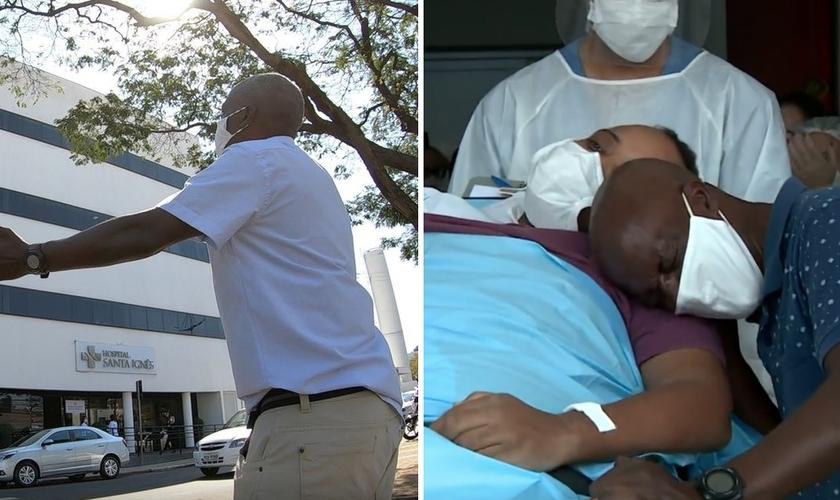 Pai orava diariamente em frente ao hospital onde o filho estava internado com Covid-19. (Foto: Ricardo Custódio/EPTV)