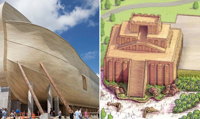 Arca de Noé em tamanho real; conceito da réplica da Torre de Babel. (Foto: Reprodução / Answers in Genesis).