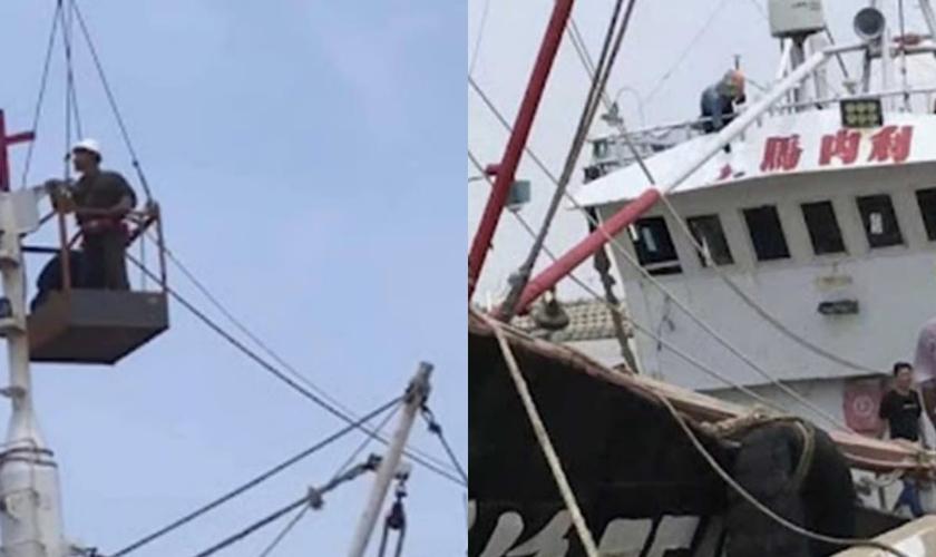 Empreiteiros do PCC do Condado de Qushan removendo uma cruz de um barco de pesca. (Foto: ChinaAid).