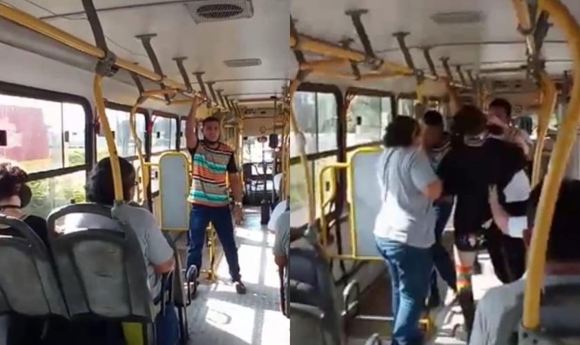 Em vídeo postado no Facebook, a passageira fica enfurecida com a pregação e avança contra o pregador. (Foto: Reprodução/Facebook).