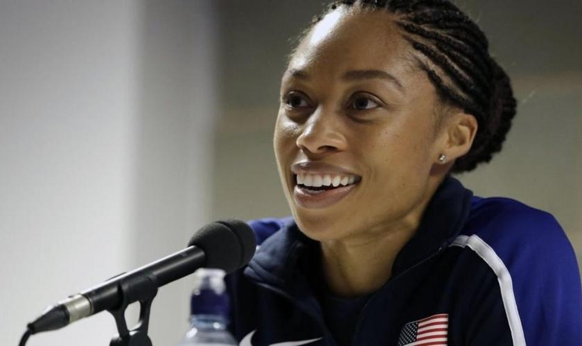Allyson Felix, uma das atletas mais premiadas da história do atletismo. (Foto: AP Photo/Matthias Schrader)