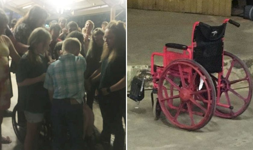 Crianças cercaram a cadeira de rodas e oraram pela cura de Joy. (Foto: AG News)