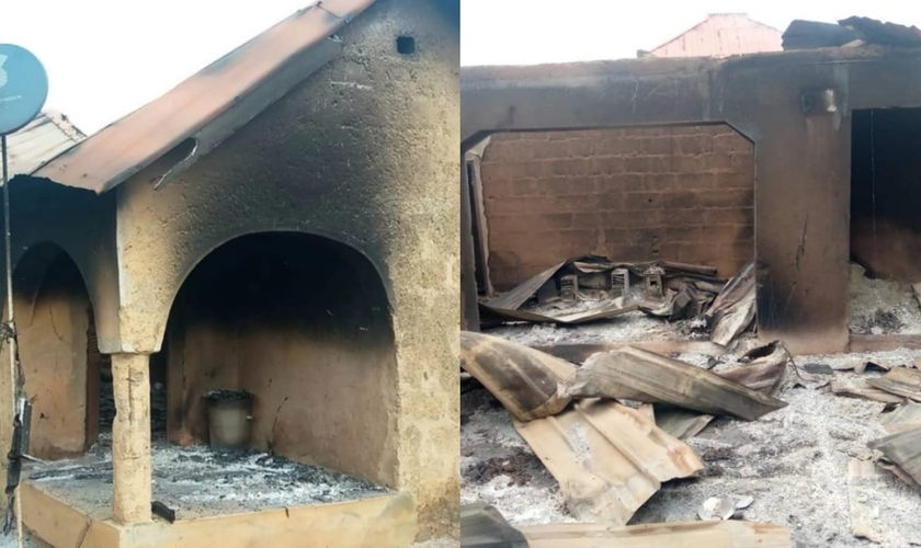 O orfanato Binta foi destruído em 2 de agosto de 2021. (Foto: Pastor Bill Devlin/Facebook).