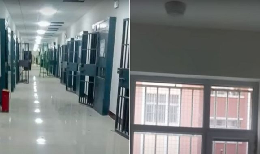 Filmagens secretas obtidas pelo grupo de ativistas Bitter Winter mostraram celas com barras e câmeras. (Foto: Bitter Winter).