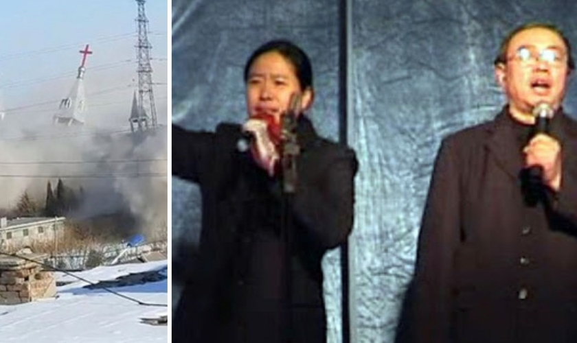 Igreja Golden Lampstand demolida; Pra. Yang e seu marido, Pr. Wang. (Foto: Reprodução / ChinaAid)