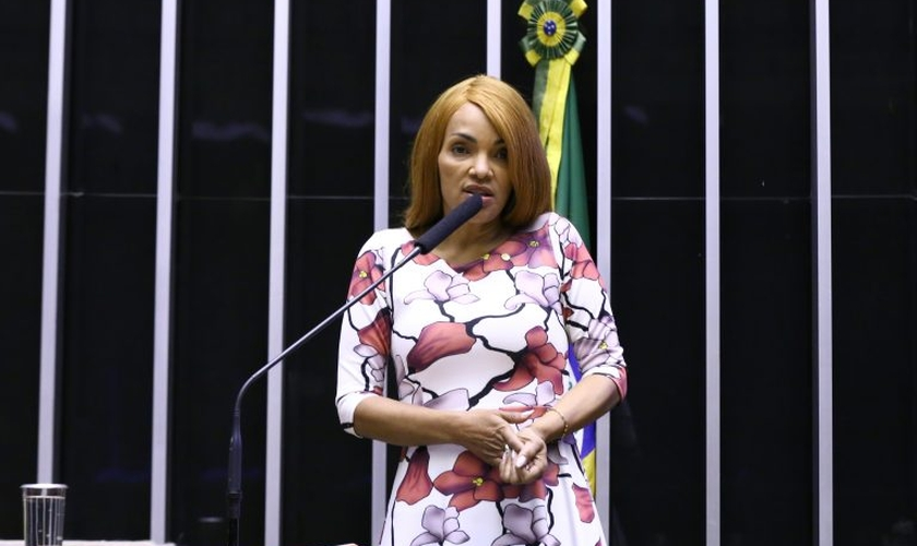 Flordelis se defendeu das acusações durante discurso em Plenário. (Foto: Reprodução / Agência Câmara de Notícias)