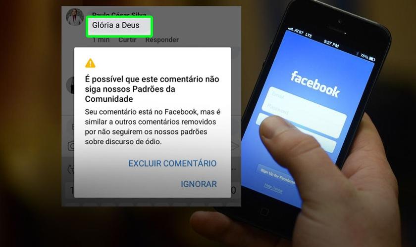 """Mensagem do Facebook sobre postagem """"Glória a Deus. Aleluia"""". (Foto: Montagem Guiame)"""