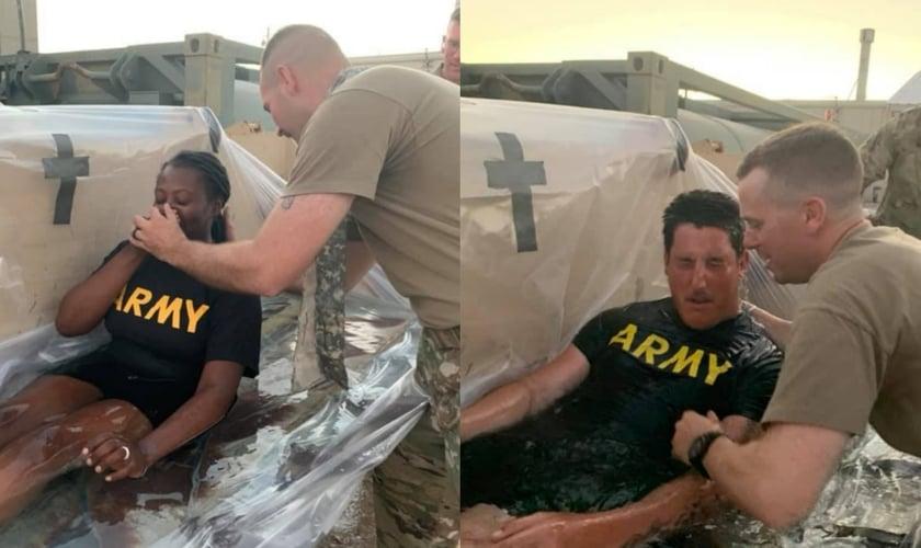 Sete soldados americanos do Forte Irwin, na Califórnia, foram batizados por capelães militares. (Foto: Reprodução/Facebook).