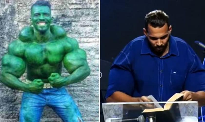 """Romário em seu personagem """"Hulk"""", e hoje testemunhando a transformação em Cristo. (Foto: Reprodução / Arquivo pessoal)"""