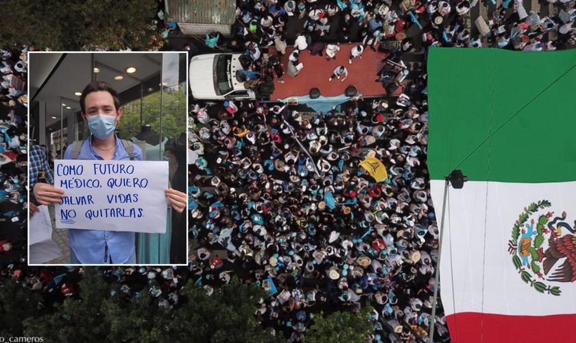 Vista aérea de parte das manifestações pró-vida em frente à Suprema Corte; no destaque, manifestante com cartaz. (Foto: Reprodução / Twitter)