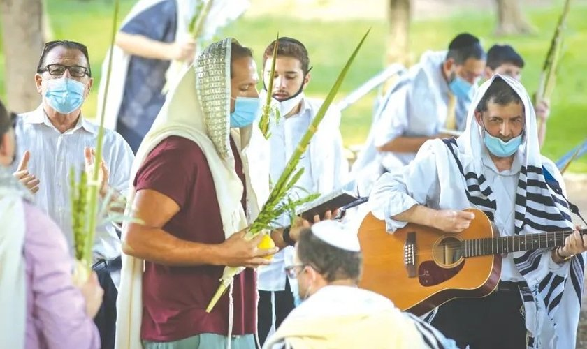 Adoradores seguram as Quatro Espécies enquanto oram durante Sucot, em Ramat Beit Shemesh no início desta semana. (Foto: Reprodução / Yaakov Lederman)