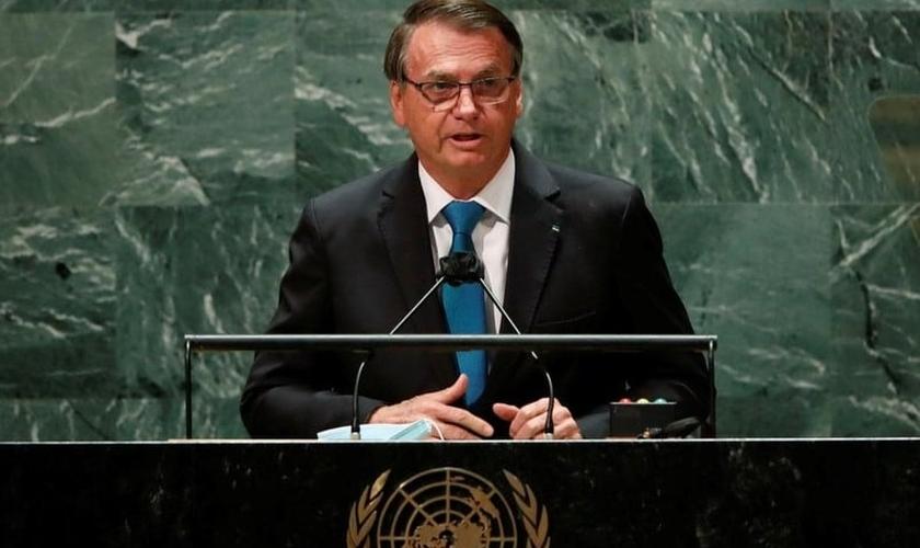 Jair Bolsonaro em seu discurso na sede da ONU, em NY. (Foto: Reprodução / Estadão)