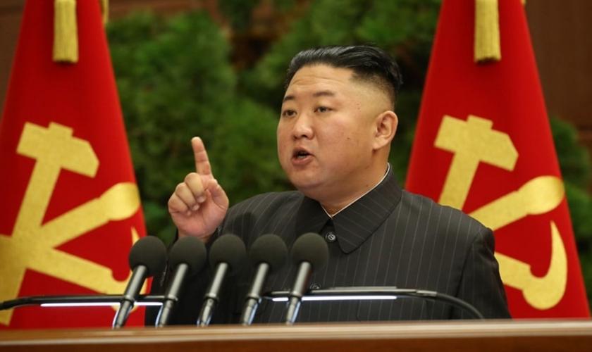 Kim Jong Un no VIII Congresso do Partido Trabalhista Coreano, 30 de junho de 2021. (Foto: Site de fotos públicas)