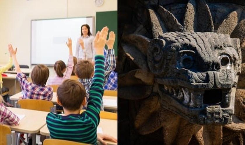 Crianças em sala de aula e deus da serpente asteca Cabeça da cobra emplumada Quetzalcoatl. (Foto: Reprodução / Shutterstock)